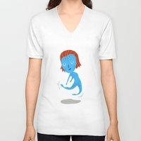 nightcrawler V-neck T-shirts featuring Mystique by Rod Perich