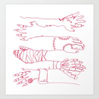 Classic Horror Hands (Red Line) Art Print