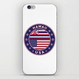 Hawaii, Hawaii t-shirt, Hawaii sticker, circle, Hawaii flag, white bg iPhone Skin
