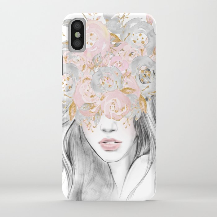she wore flowers in her hair rose gold by nature magick iphone case