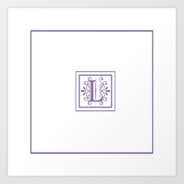 Monogram Letter L in Violet and White Art Print
