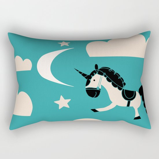 Unicorn Teal Rectangular Pillow