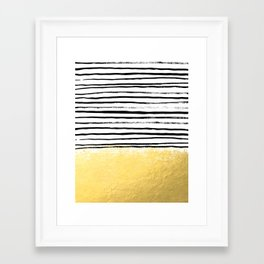 Blaire - Brushed Gold Stripes - black and gold, gold trend, gold phone case, gold cell case Framed Art Print