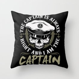 Captain Skipper Sailing Sailor Boat Throw Pillow