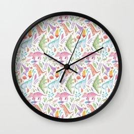 Dinosaur watercolor Wall Clock