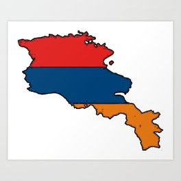 Armenia Map with Armenian Flag Art Print