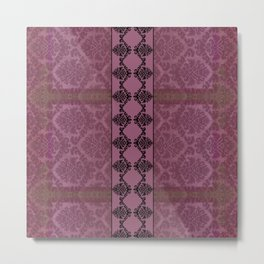 AGED PARCHMENT DAMASK, CUT VELVET in ROSE Metal Print