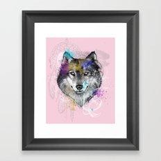 Sasha's Wolf Pink Framed Art Print