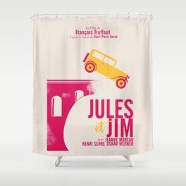 Jules et Jim, François Truffaut, minimal movie Poster, Jeanne Moreau, french film, nouvelle vague Shower Curtain