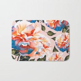 Big flowers blue & orange Bath Mat