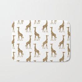 Gold Glitter Giraffe Pattern Bath Mat