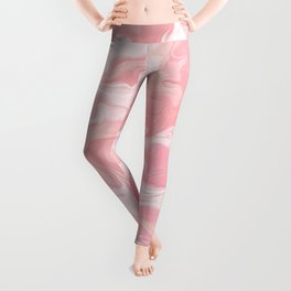 Elegant abstract pink coral white watercolor marble Leggings