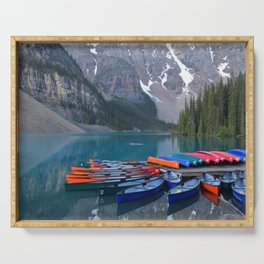 Colorful Canoes at Moraine Lake Serving Tray