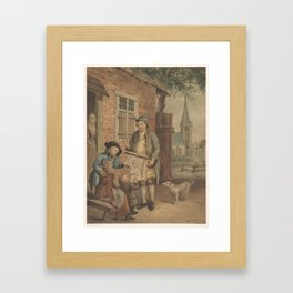Itinerant print vendor in a village, anonymous, after Johann Conrad Seekatz, 1800 - 18 Framed Art Print