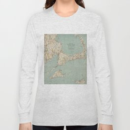 Vintage Map of Cape Cod (1917) Long Sleeve T-shirt