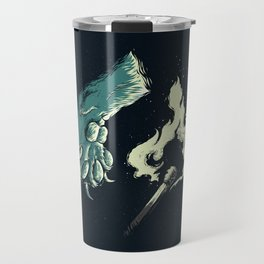 cat paw playing with fire Travel Mug