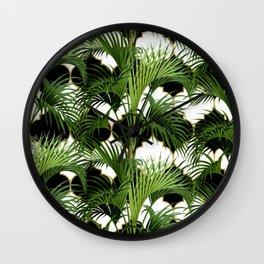 Palms on Quatrefoil Pattern - Black Gold Wall Clock