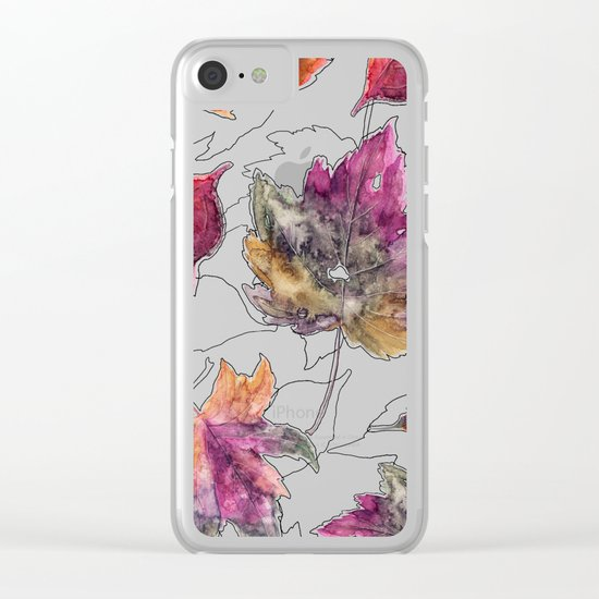 Maple Pattern Clear iPhone Case