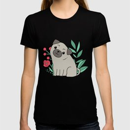Pugs and summer flowers T-shirt