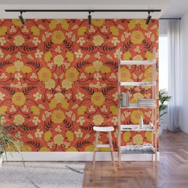 Vibrant Orange, Yellow & Brown Floral Pattern w/ Retro Colors Wall Mural
