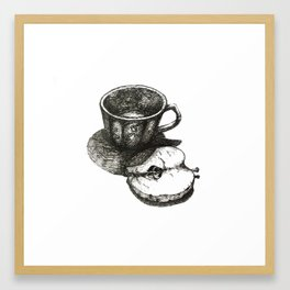 kitchen table series: cup and apple Framed Art Print