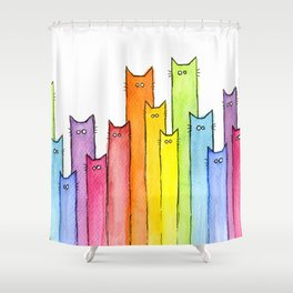 Rainbow of Cats Funny Whimsical Animals Shower Curtain