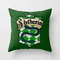 slytherin Throw Pillows featuring Slytherin Crest by AriesNamarie