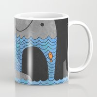 book Mugs featuring Thirsty Elephant  by Terry Fan
