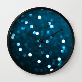 Cyan Blue Sparkly Bokeh Wall Clock