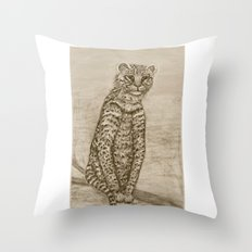 Ocelot Watching, by Ave Hurley Throw Pillow