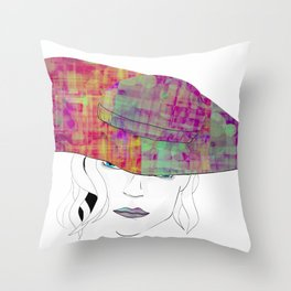 Long brim lady Throw Pillow