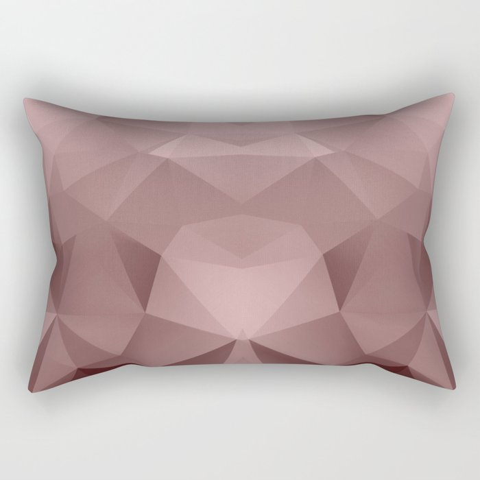 Abstract geometric polygonal pattern in grey and pink tones . Rectangular Pillow