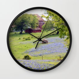 Old Red Barn and Rolling Bluebonnet Hills Wall Clock