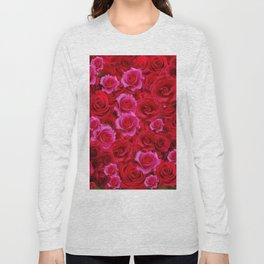 MIXED PINK & RED SPRING ROSES GARDEN  RED VIGNETTE Long Sleeve T-shirt