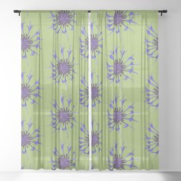 Thin blue flames in a sea of green Sheer Curtain