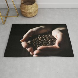 Hands Full of Coffee Beans Rug