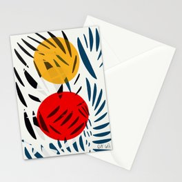 Yellow and Red Abstract Art Graphic Design Stationery Cards