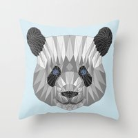 panda Throw Pillows featuring panda by Nir P
