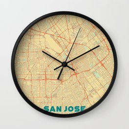 San Jose Map Retro Wall Clock