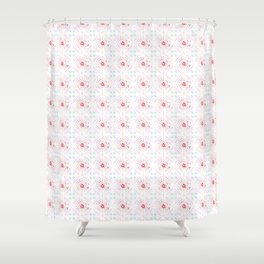 Global Motif in Pink Shower Curtain