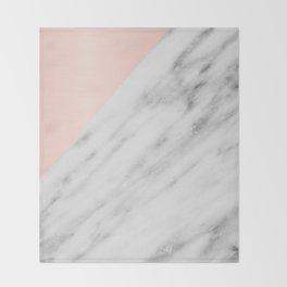 Real Carrara Italian Marble and Pink Throw Blanket