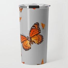 FLOCK OF ORANGE MONARCH BUTTERFLIES ART Travel Mug
