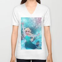 frozen elsa V-neck T-shirts featuring Frozen Elsa by Teo Hoble
