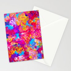 FLORAL FANTASY Bold Abstract Flowers Acrylic Textural Painting Neon Pink Turquoise Feminine Art Stationery Cards