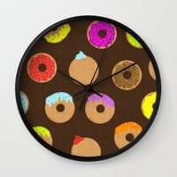 donuts Wall Clocks featuring Donuts by Reg Silva / Wedgienet.net