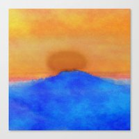Canvas Prints featuring Blue landscape at sunset by Mari Biro