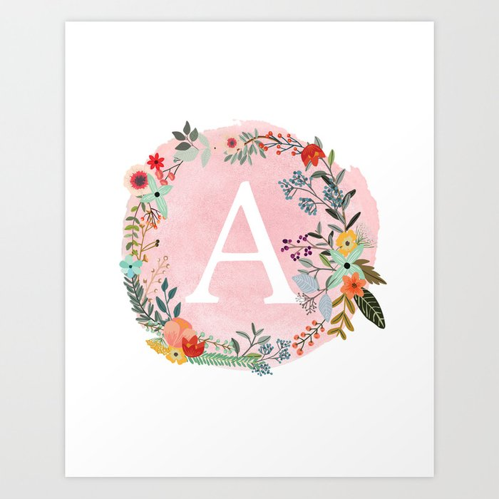 Flower Wreath with Personalized Monogram Initial Letter A on Pink Watercolor Paper Texture Artwork Art Print