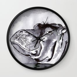 Hippo - Animal Series in Ink Wall Clock