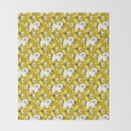 Bichon Frise on Yellow Rose Floral Autumn Gold Throw Blanket