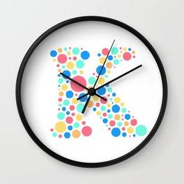 K Pastel Dots Wall Clock